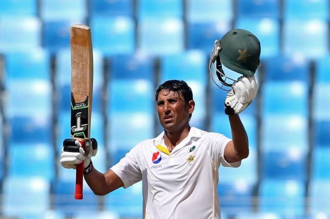 Pakistan's Younis Khan celebrates scoring a century. Photo: Action Images via Reuters