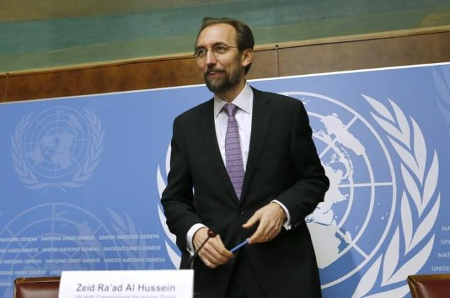 Jordan's Prince Zeid Ra'ad Zeid al-Hussein, U.N. High Commissioner for Human Rights gestures after a news conference at the United Nations European headquarters in Geneva October 16, 2014.     REUTERS/Denis Balibouse
