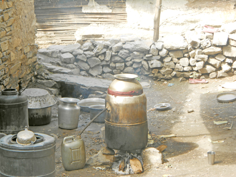 Alcohol being brewed with local means in Bajura district. Photo: Prakash Singh.