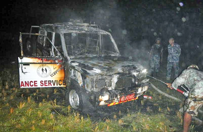 An ambulance torched by a group of people in Nagawa of Birgunj on Wednesday, Octorber 7, 2015. Photo: Ram Sarraf
