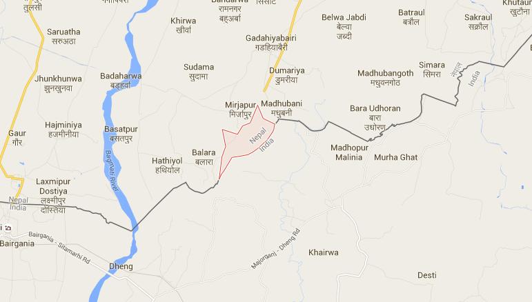 Arnaha village of Sarlahi district near the Indo-Nepal border. Map: Google