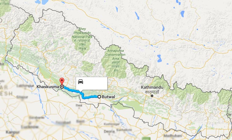 The bus was heading to Nepalgunj from Butwal. Google Maps