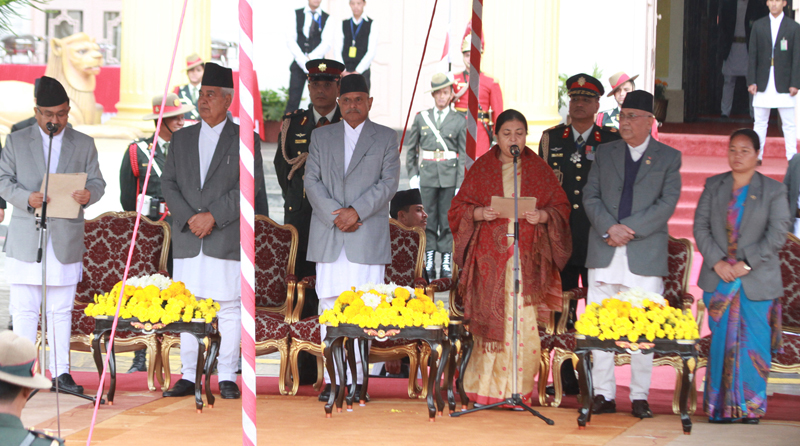 President Bidya Devi Bhandari takes the oath of office and secrecy from Chief Justice Kalyan Shrestha at the Sheetal Niwas, on Thursday, October 29, 2015. Photo: RSS