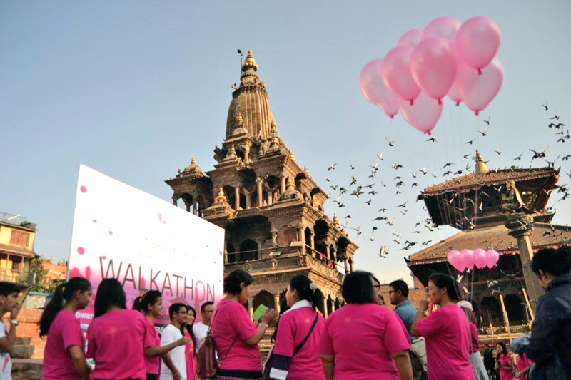 Participants gathered at the Patan Durbar Square for the walkathon organised by the Rose Foundation Nepal for breast cancer awareness on Saturday, October 10, 2015. Courtesy: Rose Foundation Nepal's Facebook Account