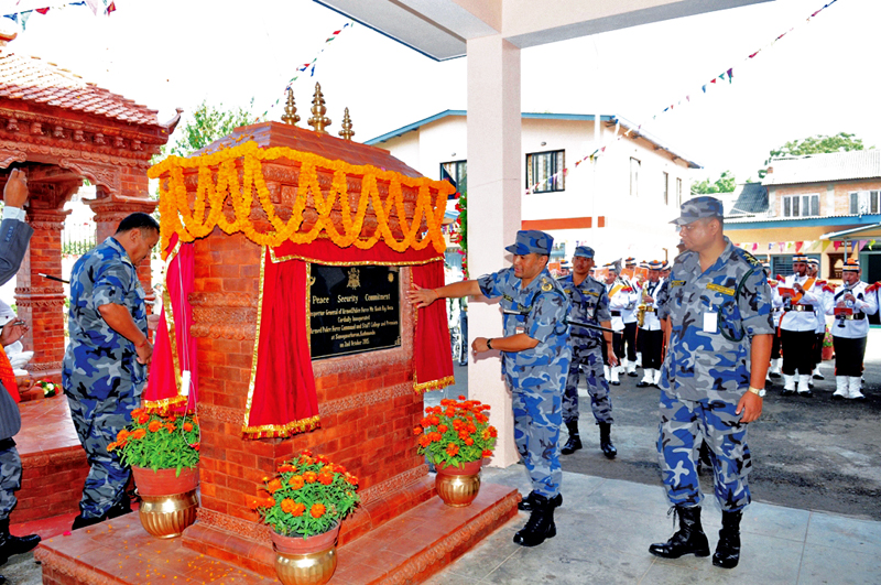 Inspector General of Armed Police Force inaugurating the Staff College at Sano Gaucharan, Kathmandu, on Friday, October 02, 2015. Photo: THT