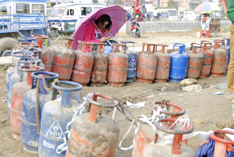 A long line of empty cooking gas cylinders , in Balkumari, Lalitpur, on Friday, October 30, 2015. Photo: THT