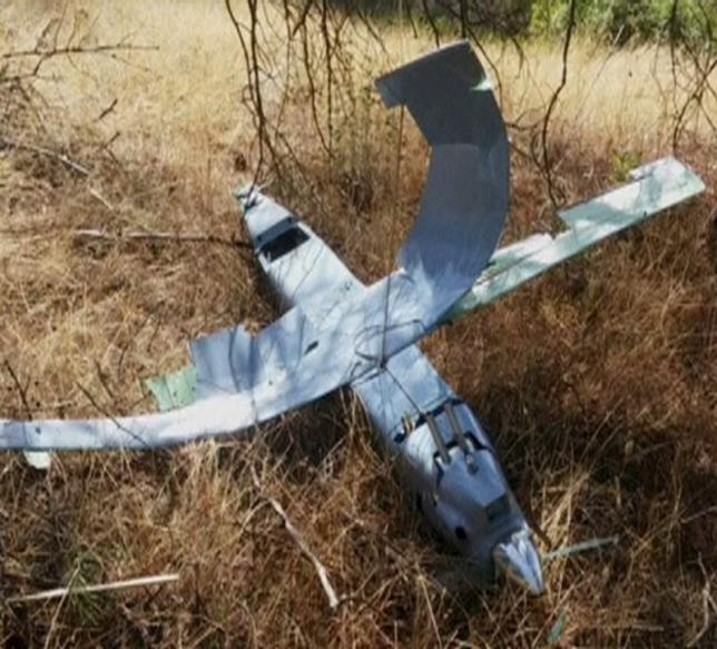 A still photograph used in a video shows a downed drone in Deliosman Village, Turkey October 16, 2015. Mandatory credit REUTERS/Halil Dogan via Reuters TV