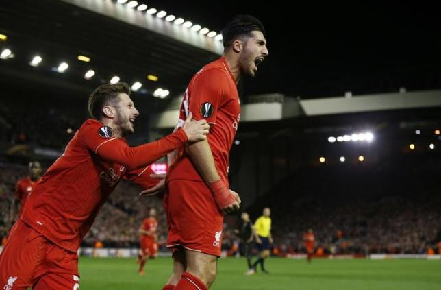 Football - Liverpool v Rubin Kazan - UEFA Europa League Group Stage - Group B - Anfield, Liverpool, England - 22/10/15nEmre Can celebrates scoring the first goal for Liverpool with Adam LallananReuters / Phil Noble
