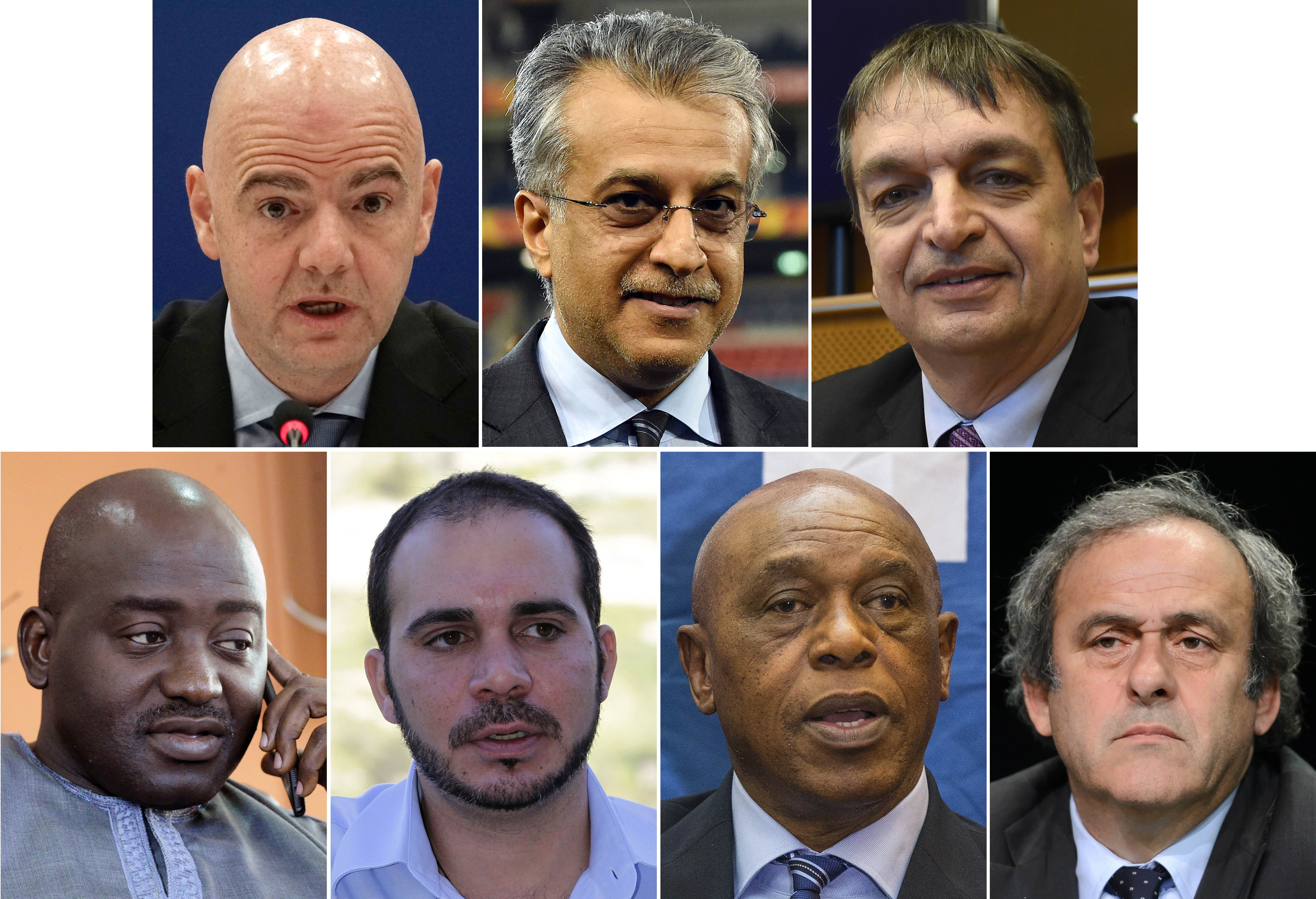(COMBO) A combination of file pictures made on October 28, 2015 shows (from top L) UEFA secretary general Gianni Infantino on March 23, 2015, AFC President Shaikh Salman bin Ebrahim Al Khalifa on January 30, 2015, Former FIFA deputy general secretary Jerome Champagne on January 21, 2015, Liberia FA chairman Musa Bility on June 19, 2015, FIFA vice president for Asia Prince Ali bin al-Hussein of Jordan on April 28, 2012, Chairman of the FIFA monitoring committee for Israel and Palestine, Tokyo Sexwale, on October 2, 2015 and UEFA President Michel Platini on May 28, 2015. Prince Ali Bin Al Hussein, Michel Platini, Jerome Champagne, David Nakhid, Tokyo Sexwale, Shaikh Salman Bin Brahim Al Khalifa, Gianni Infantino and Musa Bility are official candidates for the FIFA presidency as the deadline for submitting the formal bids is Midnight UTC on October 26.  AFP PHOTO / JOE KLAMAR / SAEED KHAN / JOHN THYS / ZOOM DOSSO / KHALIL MAZRAAWI / JACK GUEZ / FABRICE COFFRINI
