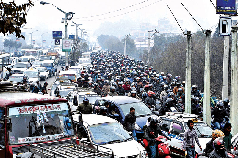 In this recent photograph, vehicles queue up to fill fuel at Bhadrakali of Kathmandu. Photo: THT