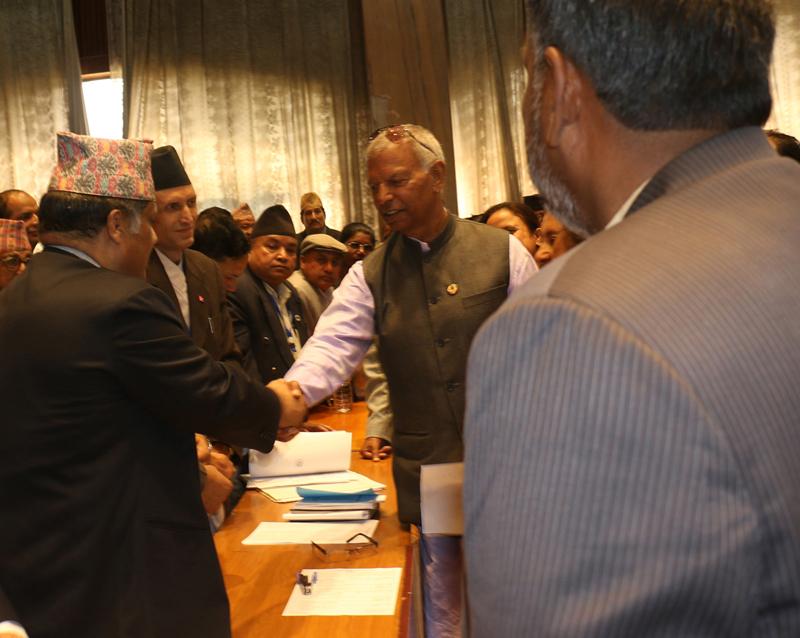 Rastriya Prajatantra Party-Nepal's Ganga Prasad Yadav files his nomination to the election of Deputy Speaker of the House, in Kathmandu, on Friday, October 15, 2015. Photo: RSS