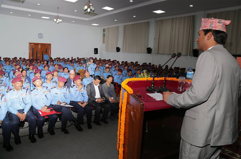 Minister for Home Affairs Shakti Basnet directs Nepal Police personnel at the police headquarters, in Kathmandu, on Thursday, October 29, 2015. Photo: Nepal Police