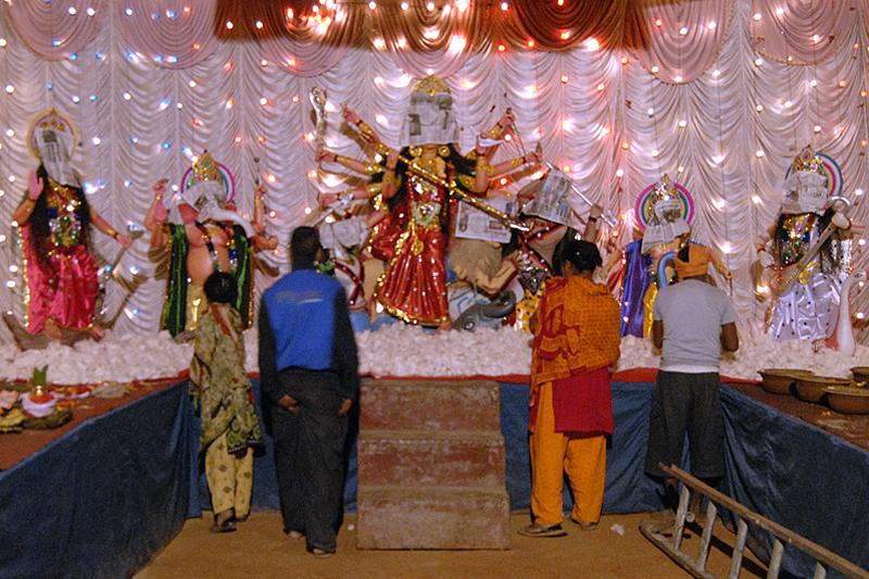 Devotees visiting a temporary pavilion with idols of Goddess Durga, demon Mahisasur and other deities at Sanepa, Lalitpur on Thursday, October 15, 2015. Photo: THT