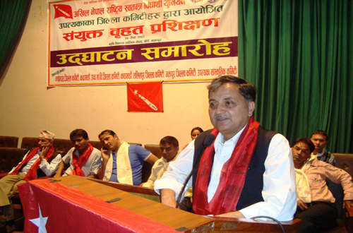 General Secretary of CPN-UML Ishwor Pokharel addressing the inaugural of two-day joint extensive training programme organised by All Nepal Free Students Union for its workers in the Capital Valley in Bhaktapur on Fridayu201a June 10u201a 2011. Photo: THT/File