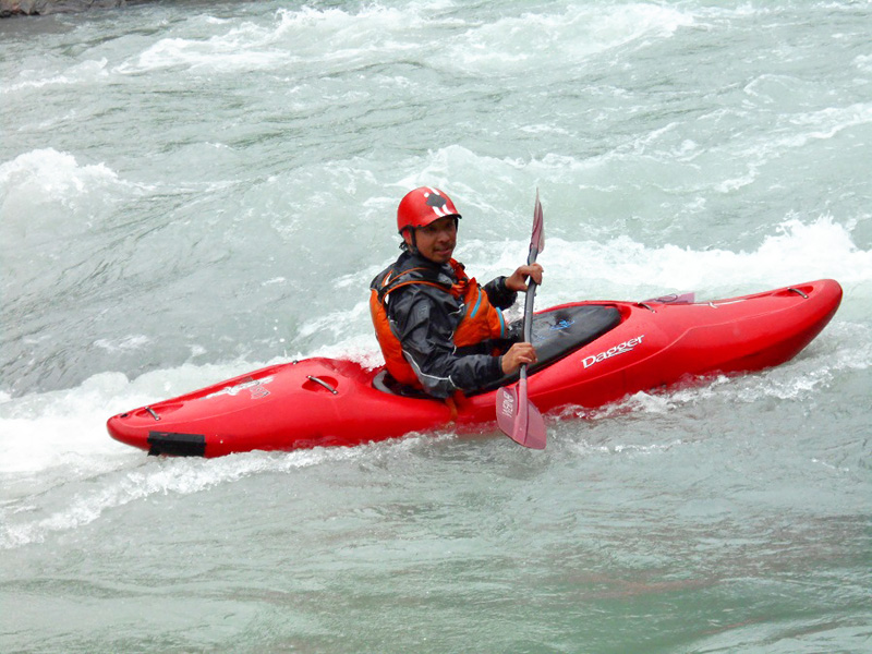 Kaiyaking event being organised in the Marsyandgi river for the tourism promotion of the nation. Photo: Ramji Rana