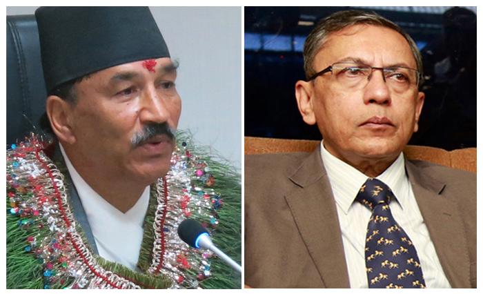 Deputy Prime Minister Kamal Thapa (left) and Indian Ambassador to Nepal Ranjit Rae