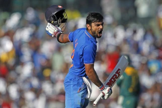 India's Virat Kohli reacts after scoring his century during their fourth one-day international cricket match against South Africa in Chennai, India, October 22, 2015. REUTERS/Danish Siddiqui