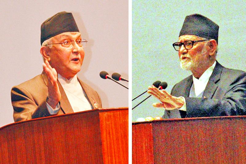CPN-UML Chairman KP Sharma Oli and Prime Minister Sushil Koirala. Photos: RSS/THT
