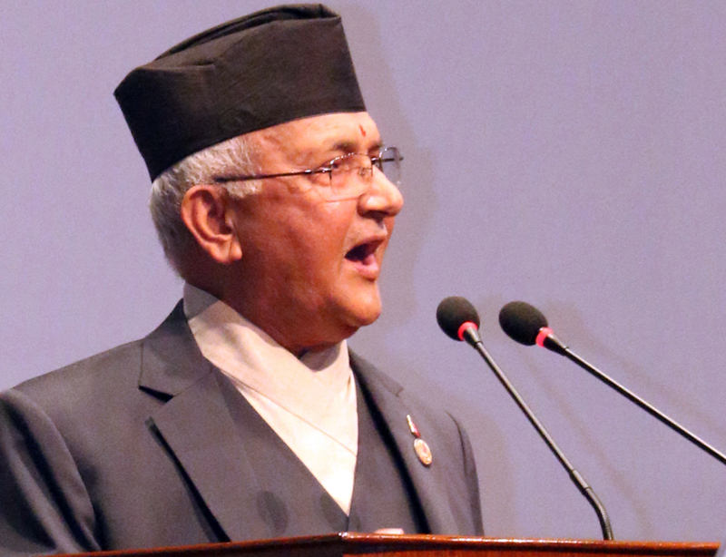 CPN-UML Chairman KP Sharma Oli presents his nomination to the prime ministerial election, at the Parliament meeting in Kathmandu, on Sunday, October 11, 2015. Photo: RSS