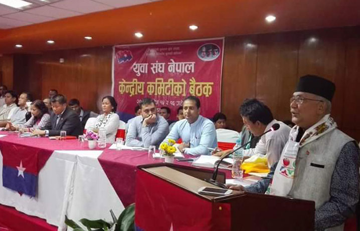 CPN-UML Chairman KP Sharma Oli addresses the central committee meeting of the party's Youth Association of Nepal, in Kathmandu, on Saturday, October 3, 2015. Courtesy: Amrit Devkota