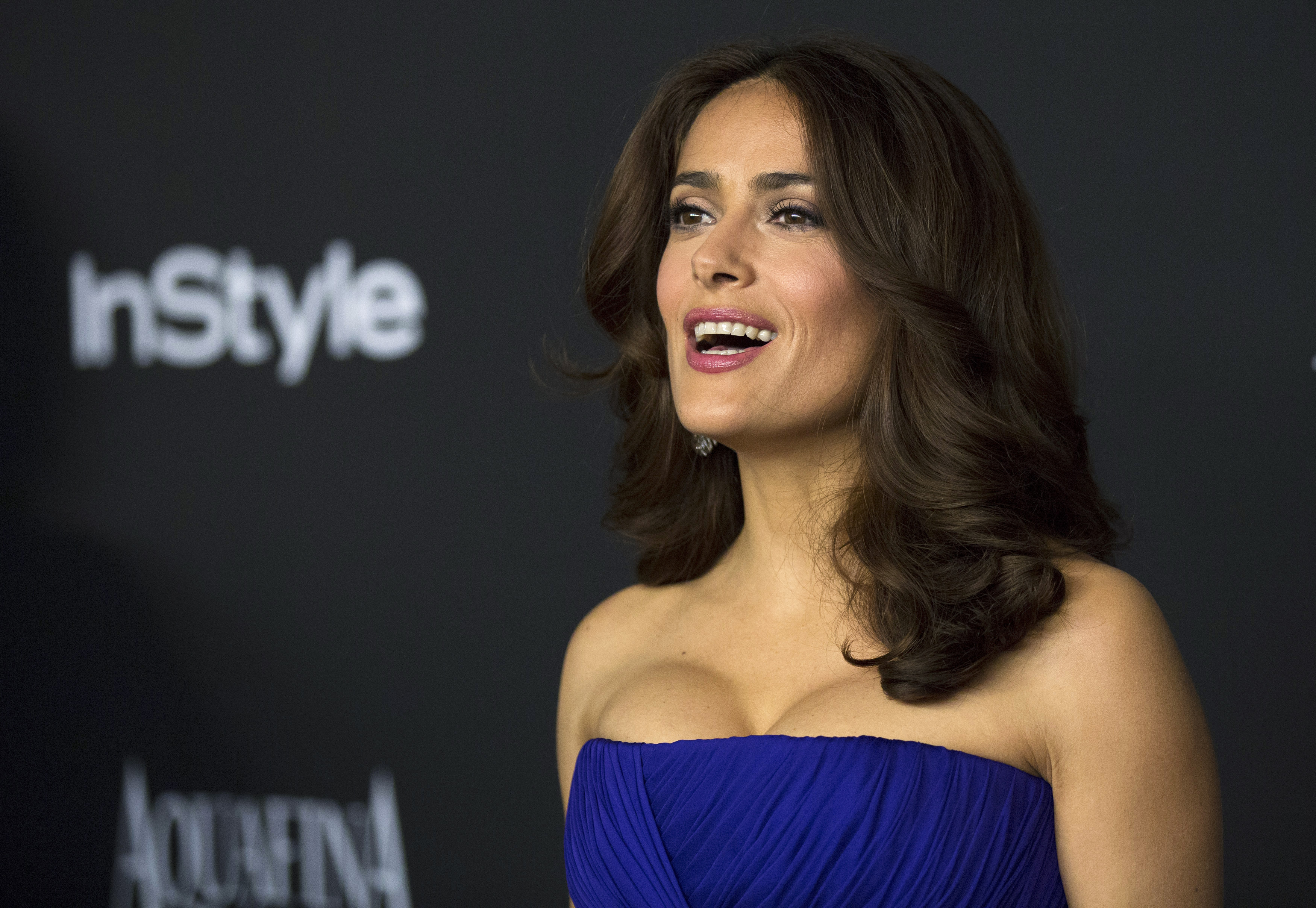 Actress Salma Hayek poses at the 16th annual InStyle and Warner Bros. party after the 72nd annual Golden Globe Awards in Beverly Hills, California on January 11, 2015. Photo: Reuters