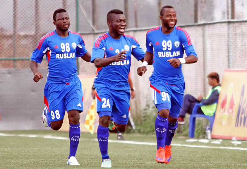 Afeez Olawale (right) of Three Star Club celebrates goal against Nepal APF Club during their Red Bull National League match at ANFA Complex in Lalitpur on Tuesday. Photo: Udipt Singh Chhetry/ THT