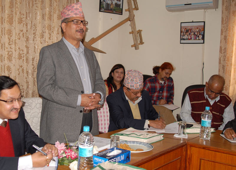 Minister for Agricultural Development Haribol Gajurel speaks at a function in Kathmandu, on Wednesday, October 28, 2015. Photo: PACT