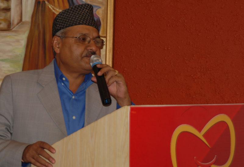 MoAD Secretary Uttam Kumar Bhattarai speaks at an orientation workshop in Kathmandu, on Friday, October 9, 2015. Photo: PACT
