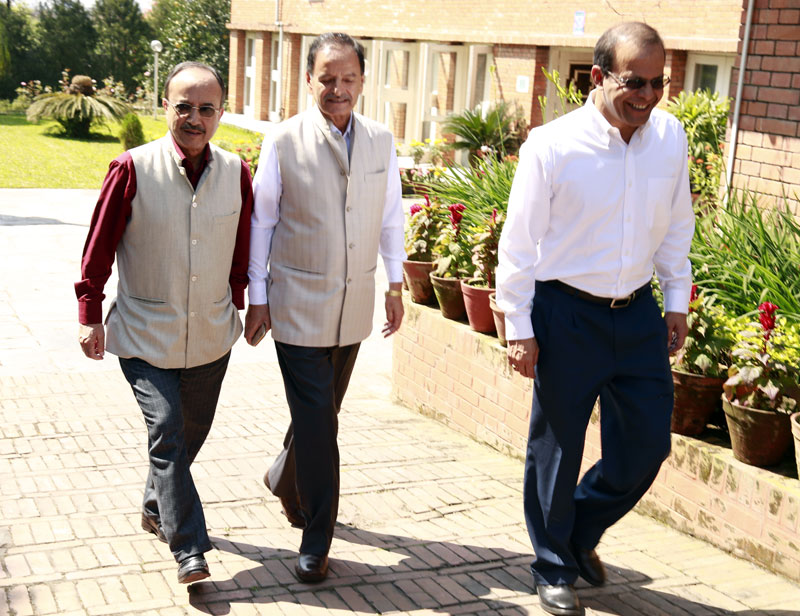(From left) NC leaders Purna Bahadur Khadka, Krishna Sitaula and Minendra Rijal emerge from the party's Central Central Working Committee, in Baluwatar, on Sunday, October 4, 2015.