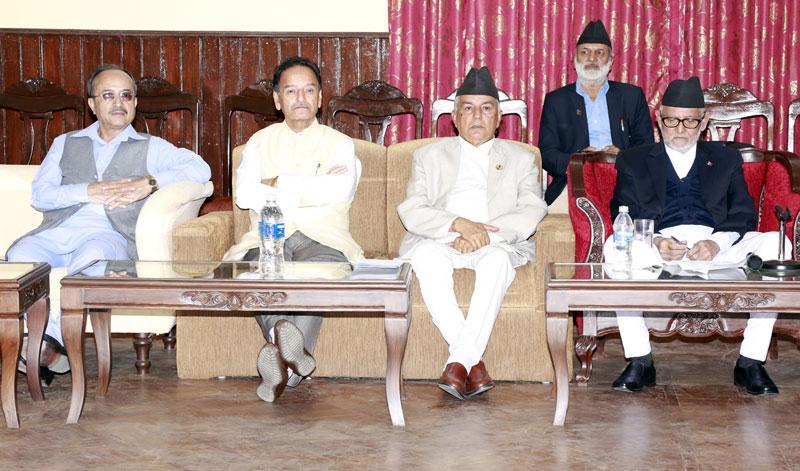(From left) Nepali Congress Joint General Secretary Purna Bahadur Khadka, General Secretary Krishna Prasad Sitaula, Vice-President Ram Chandra Paudel and President Sushil Koirala at the party's Central Working Committee meeting in Baluwatar of Kathmandu, on Friday, October 9, 2015. Photo: RSS