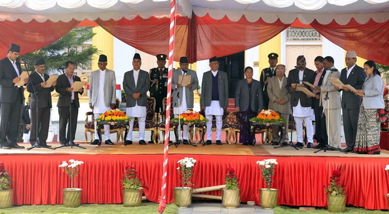 Newly appointed minister take the oath of office and secrecy from President Ram Baran Yadav, at the Sheetal Niwas in Kathmandu on Sunday, October 18, 2015. Photo: RSS