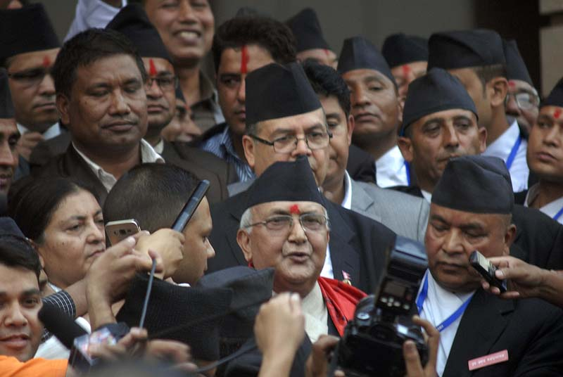 Newly elected Prime Minister KP Sharma Oli speaks with media after the Parliament meeting that elected him to the post ended, in Kathmandu, on Sunday, October 11, 2015. Photo: Balkrishna Thapa/THT