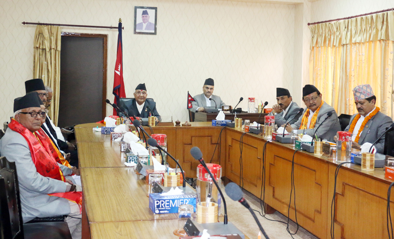 The first meeting of the Cabinet led by new Prime Minister KP Sharma Oli at the Office of the Prime Minister and Council of Ministers, on Monday, October 12, 2015. Photo: RSS