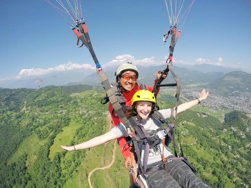 Tourists enjoying a paragliding flight over the Pokhara sky, in Kaski district. Photo: Rajesh Bomjan/File