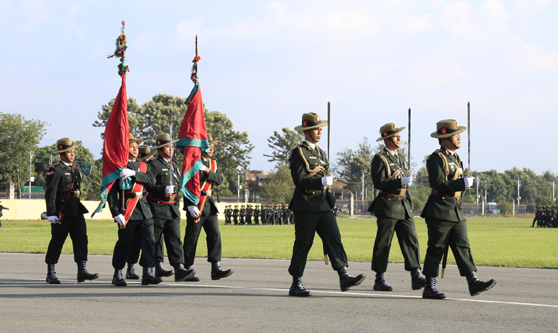 Nepal Army personnel perform a parade at the Phulpati Parade programme, in Kathmandu, on Tuesday, October 20, 2015. Photo: RSS