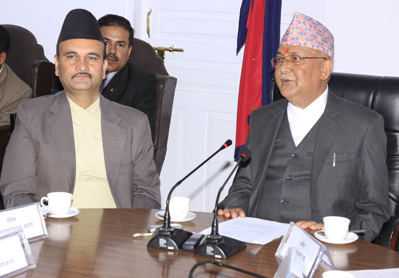 Prime Minister KP Sharma Oli directs secretaries and special class officials of the government, in Kathmandu, on Monday, October 19, 2015. Photo: RSS