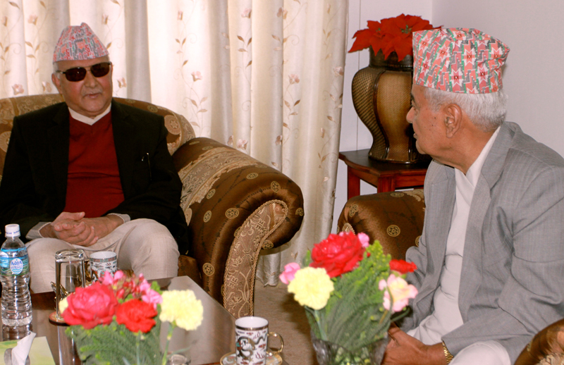 Prime Minister Sushil Koirala calls on Vice-President Paramananda Jha at the latter's office in Kathmandu, on Wednesday, October 14, 2015. Photo: RSS