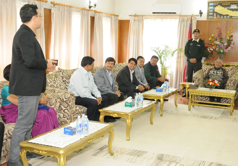 Prime Minister KP Sharma Oli receives a delegation of the Federation of Nepalese Chambers of Commerce and Industry (FNCCI) at his residence, in Kathmandu, on Monday, October19, 2015. Photo: FNCCI