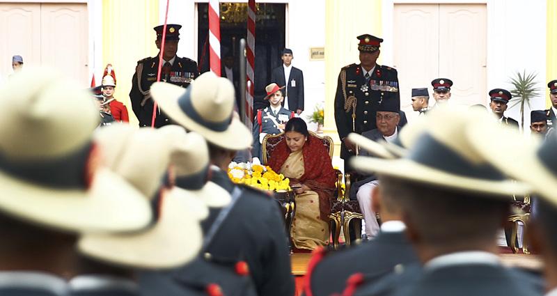 Newly elected President Bidya Devi Bhandari signs on the transcript of her oath at the swearing-in ceremony in Kathmandu, on Thursday, October 29, 2015. Photo: Skanda Gautam