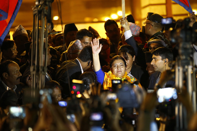 President Bidya Devi Bhandari waves to citizens at the Parliament premises after being elected the Head of State, in Kathmandu, on Wednesday, October 28, 2015. Photo: Skanda Gautam