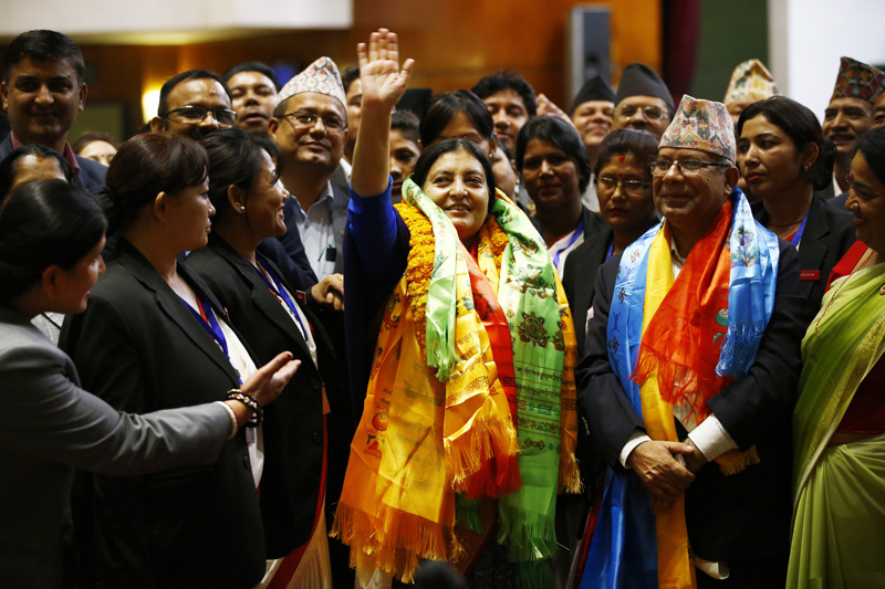 President Bidya Devi Bhandari waves to mediapersons at the Parliament premises after being elected the Head of State, in Kathmandu, on Wednesday, October 28, 2015. Photo: Skanda Gautam