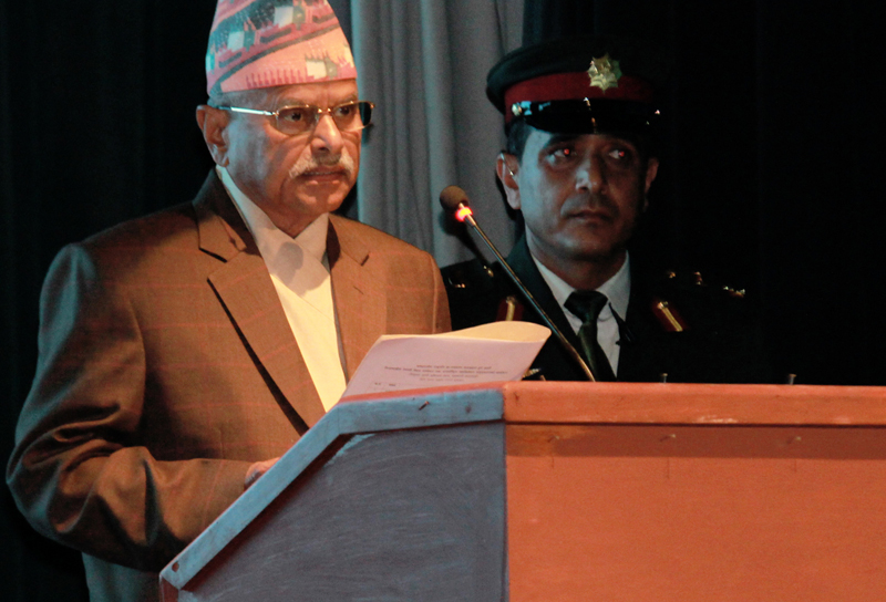 FILE: President Ram Baran Yadav addresses the 7th International General Assembly and Global Conference of the NRNA, in Kathmandu, on Friday, October 16, 2015. Photo: RSS