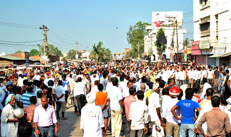 A protest rally being taken out to support the ongoing Tarai agitation, in Birgunj, Parsa, on Thursday. Photo: THT