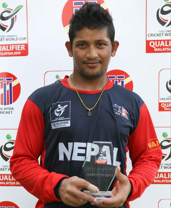 Nepal skipper Raju Rijal is declared the Player of the Match in the ICC U-19 World Cup Qualifier match against Uganda, played at the Royal Selangor Club in Kuala Lumpur on Friday, October 16, 2015. Photo: ICC