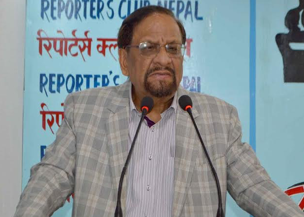 FILE: Nepali Congress leader Ram Sharan Mahat speaks at an interaction in Kathmandu, on Wednesday, October 14, 2015. Photo: Reporters' Club