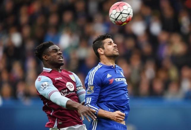 Football - Chelsea v Aston Villa - Barclays Premier League - Stamford Bridge - 17/10/15nChelsea's Diego Costa in action with Aston Villa's Micah RichardsnPhoto:  Reuters