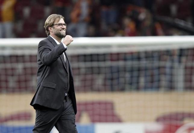 Coach Jurgen Klopp of Borussia Dortmund celebrates after the Champions League Group D soccer match against Galatasaray in Istanbul October 22, 2014.  REUTERS/Osman Orsal