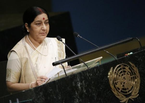 India's Minister of External Affairs Sushma Swaraj addresses attendees during the 70th session of the United Nations General Assembly at the UN Headquarters in New York, October 1, 2015. Photo: Reuters