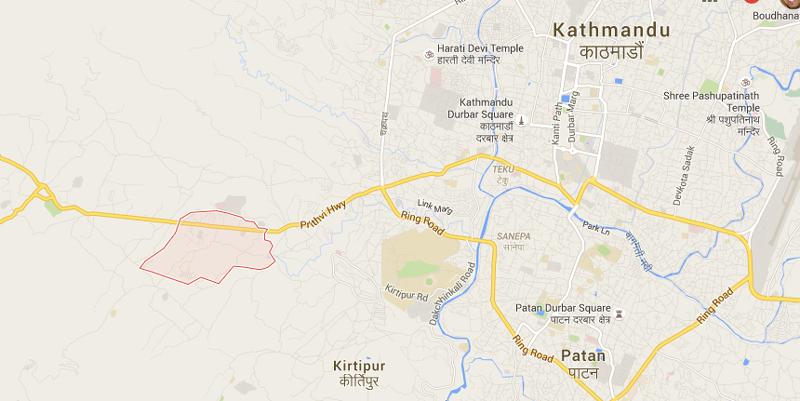 Satungal on western outskirts of Kathmandu. Map: Google