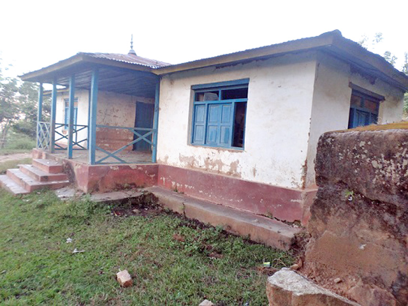 Bal mandir located near the district headquarters of Bhojpur seen in a dilapidated state after students trun away to other schools in the district. Photo: Niroj Koirala